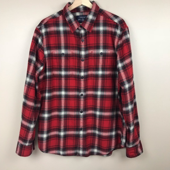 5ce3dbf92ab0d2 American Eagle Outfitters Other - AEO Men s Red   Black Flannel Prep fit  shirt Lg